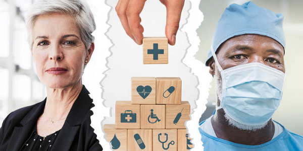 employer and physician ripped apart by healthcare insurance brokers, represented by wooden blocks of health icons